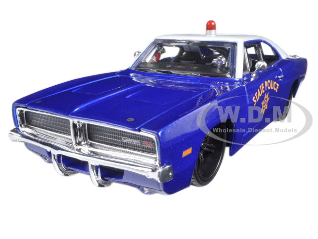 Blue Dodge Charger >> 1969 Dodge Charger R T State Police Car Blue 1 25 Diecast Model Car By Maisto