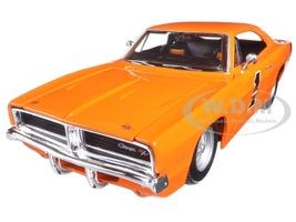 1969 Dodge Charger R/T Harley Davidson Orange 1/25 Diecast Model Car Maisto 32196