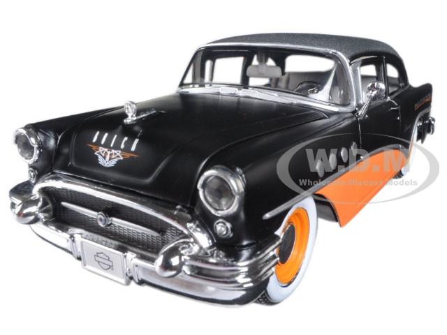 1955 Buick Century Harley Davidson Black / Orange 1/26 Diecast Model Car Maisto 32197