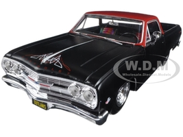 "1965 Chevrolet El Camino Matt Black ""Outlaws"" 1/25 Diecast Model Car Maisto 32517"