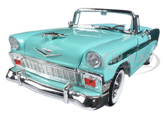 1956 Chevrolet Bel Air Convertible Green/Dark Green 1/18 Diecast Model Car Road Signature 92128