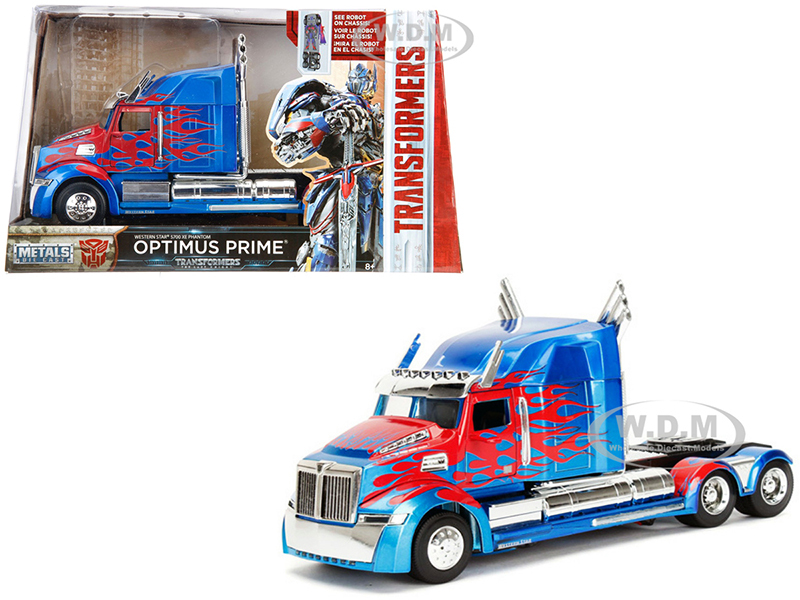 Western Star 5700 XE Phantom Optimus Prime Robot on Chassis Transformers 5 2017 Movie Hollywood Rides Series 1/24 Diecast Model Jada 98403