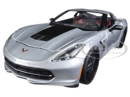 "2014 Chevrolet Corvette Stingray Silver ""Modern Muscle"" 1/24 Diecast Model Car Maisto 32510"