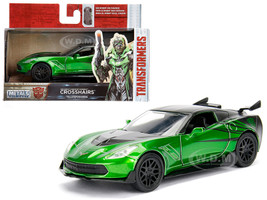"2016 Chevrolet Corvette Crosshairs Green From ""Transformers"" Movie 1/32 Diecast Model Car Jada 98397"