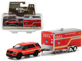 2016 Ford Explorer Official Fire Department NYC (FDNY) and Special Operations Command Trailer Hitch & Tow Series 10 1/64 Diecast Model Car Greenlight 32100 D