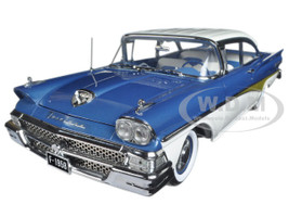 "1958 Ford Fairlane 500 Hard Top ""The Car That Went Around the World"" Colonial White and Silverstone Blue Platinum Series Limited Edition to 999pcs 1/18 Diecast Model Car Sunstar 5283"