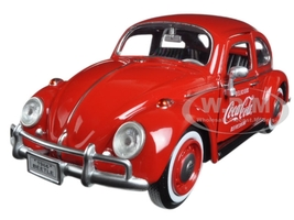 "1966 Volkswagen Beetle ""Coca Cola"" with Rear Luggage Rack and 2 Bottle Cases 1/24 Diecast Model Car Motorcity Classics 424067"