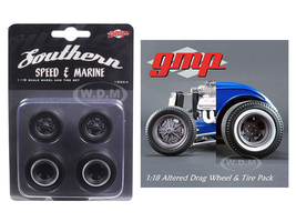 Drag Wheels and Tires Set of 4 Magnesium Finish from 1934 Altered Drag Coupe 1/18 GMP 18864