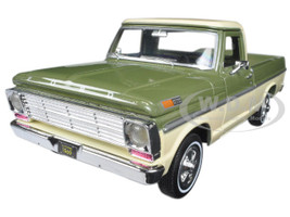1969 Ford F-100 Pickup Truck Green and Cream 1/24 Diecast Model Car Motormax 79315