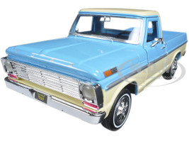 1969 Ford F-100 Pickup Truck Light Blue and Cream 1/24 Diecast Model Car Motormax 79315