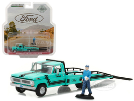 1970 Ford F-350 Ramp Truck with Truck Driver Figure Hobby Exclusive 1/64 Diecast Model Car Greenlight 29892