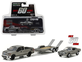 "2015 Ford F-150 with 1967 Custom Ford Mustang ""Eleanor"" on Flatbed Trailer ""Gone in Sixty Seconds"" Movie (2000) Hollywood Hitch & Tow Series 3 1/64 Diecast Model Cars Greenlight 31030 C"