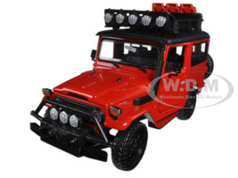 "Toyota FJ40 Land Cruiser Red ""4x4 Overlanders"" Series 1/24 Diecast Model Car Motormax 79137"