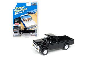"1959 Ford F-250 Pickup Truck Black ""Classic Gold"" 1/64 Diecast Model Car Johnny Lightning JLCP7005"