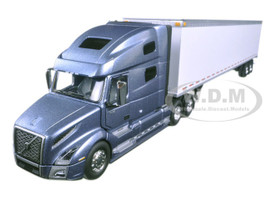 Volvo VNL 760 Sleeper Cab with 53' Trailer Smoky Mountain Blue Metallic and White 1/50 Diecast Model Car First Gear 50-3373T