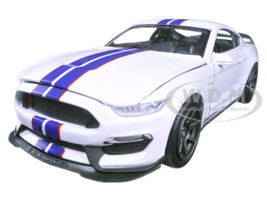 Ford Mustang Shelby GT350R White Blue Stripes 1/24 Diecast Model Car New Ray 71833 B