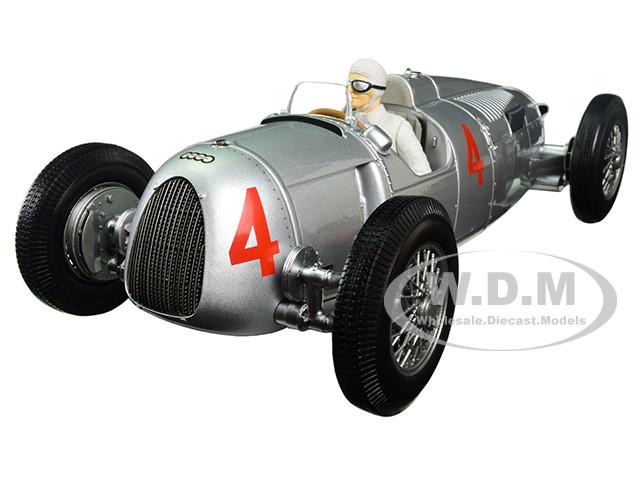 Auto Union Type C 1936 Automobile de Monaco GP 2nd Place Achille Varzi #4 Limited Edition to 504pcs with figure 1/18 Diecast Model Car Minichamps 155361004