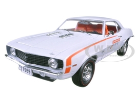 """1969 Chevrolet Camaro SS 396 Pearl White and Orange Stripes """"Camaro Fifty Years Anniversary"""" Limited Edition to 6000pcs 1/24 Diecast Model Car M2 Machines 40300-56A"""