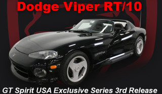 1992-1995 Dodge Viper RT/10 Black USA Exclusive Series Release #3 1/18 Model Car by GT Spirit for ACME US003