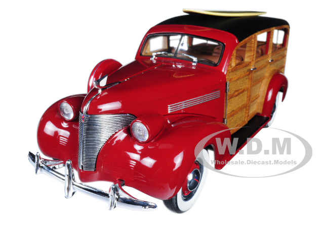 1939 Chevrolet Woody Surf Wagon Permanent Red with Surf Board 1/18 Diecast Model Car Sunstar 6176