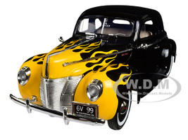 "1940 Ford Deluxe Black with Yellow Flames ""Timeless Classics"" 1/18 Diecast Model Car Motormax 73108"