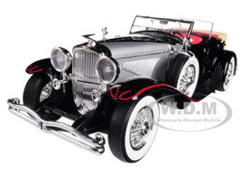 1934 Duesenberg II SJ Black and Silver 1/18 Diecast Model Car Greenlight 13504