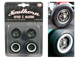 1932 Ford 5 Five Window Southern Speed and Marine KIdney Bean Hot Rod Wheels and Tires Set of 4 1/18 ACME A1805012W