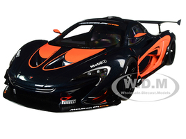 McLaren P1 GTR Dark Grey with Orange Accents 1/18 Model Car Autoart 81543
