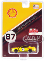 2017 Ford Mustang GT Shell Racing Yellow #87 1/64 Diecast Model Car Autoworld CP7439