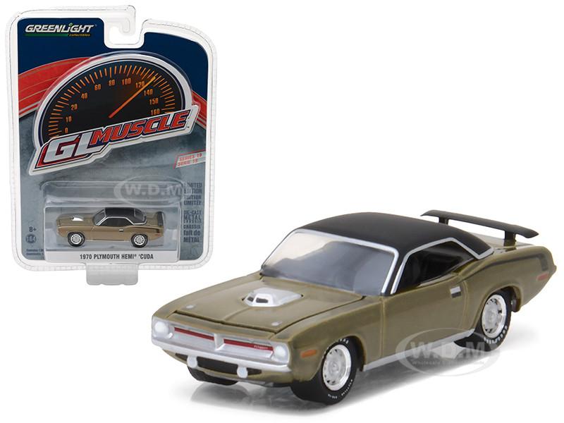 1970 PLYMOUTH HEMI CUDA CITRON GOLD 1//64 DIECAST MODEL CAR BY GREENLIGHT 13190 B