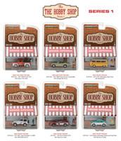 The Hobby Shop Series 1, 6pc Diecast Car Set 1/64 Diecast Model Cars Greenlight 97010