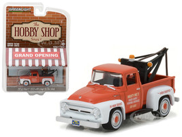 "1956 Ford F-100 Red and White with Drop-in Tow Hook ""The Hobby Shop"" Series 1 1/64 Diecast Model Car Greenlight 97010 A"