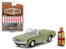 """1969 Chevrolet Camaro Convertible Green with Vintage Gas Pump """"The Hobby Shop"""" Series 1 1/64 Diecast Model Car Greenlight 97010 B"""
