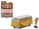 "1975 Volkswagen Type 2 Bus Yellow with Backpacker ""The Hobby Shop"" Series 1 1/64 Diecast Model Car Greenlight 97010 C"