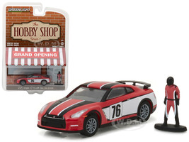 "2015 Nissan GT-R R35 #76 Red with Race Car Driver ""The Hobby Shop"" Series 1 1/64 Diecast Model Car Greenlight 97010 E"