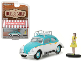"""Classic Volkswagen Beetle White and Blue with Roof Rack and Woman in Dress """"The Hobby Shop"""" Series 1 1/64 Diecast Model Car Greenlight 97010 F"""
