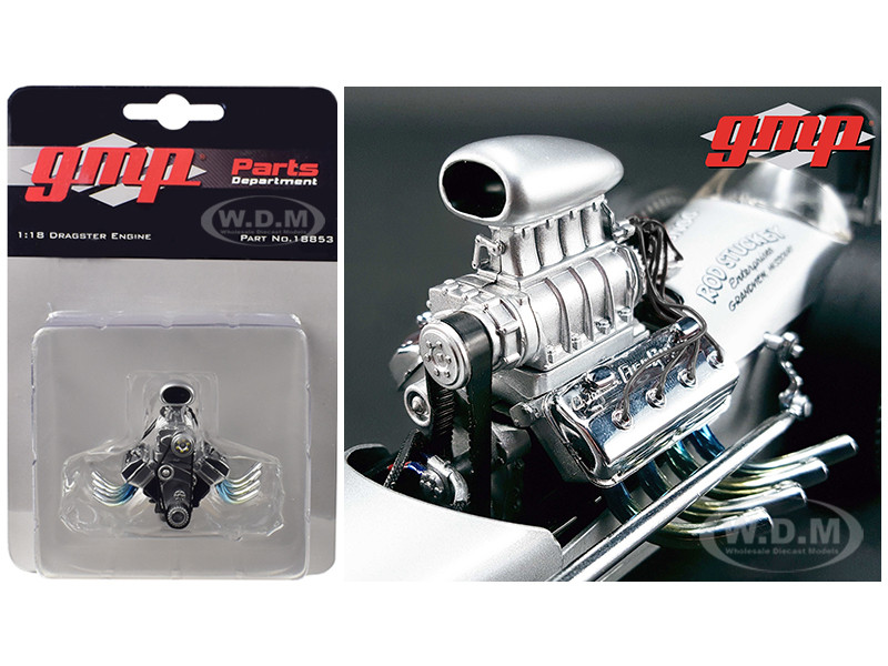 "Blown Drag Engine and Transmission Replica from ""The Chizler V"" Vintage Dragster 1/18 Model GMP 18853"