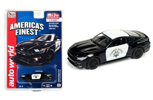 """2017 Ford Mustang GT """"America's Finest"""" CHP California Highway Patrol  1/64 Diecast Model Car Autoworld CP7475"""