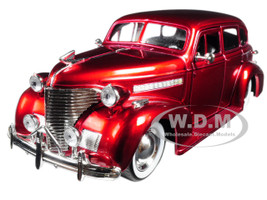 1939 Chevrolet Master Deluxe Red with baby Moon Wheels Showroom Floor 1/24 Diecast Model Car Jada 98881