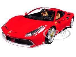 Ferrari 488 GTB Red with White Stripes 70th Anniversary The Schumacher 1/18 Diecast Model Car Bburago 76102