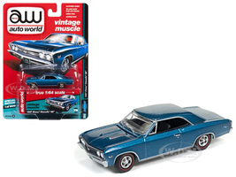 1967 Chevrolet Chevelle SS Marina Blue Vintage Muscle 1/64 Diecast Model Car Autoworld 64132 A