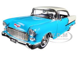 1955 Chevrolet Bel Air Hard Top Blue Showroom Floor 1/24 Diecast Model Car Jada 98886