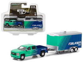 2015 Chevrolet Silverado Pickup Truck Falken Tires and Enclosed Car Hauler Hitch & Tow Series 11 1/64 Diecast Car Model Greenlight 32110 B