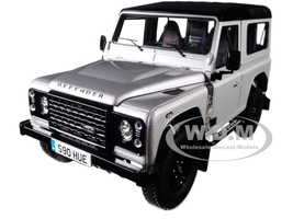 2015 Land Rover Defender 90 2000000 Edition Indus Silver Metallic Black Top Limited Edition 1999 pieces Worldwide 1/18 Diecast Model Car Almost Real 810202
