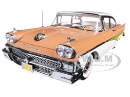 1958 Ford Fairlane 500 Hard Top Palomino Tan White Platinum Series 1/18 Diecast Model Car Sunstar 5284