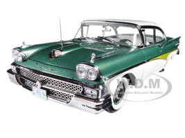 1958 Ford Fairlane 500 Hard Top Silvertone Green White Platinum Series 1/18 Diecast Model Car Sunstar 5285