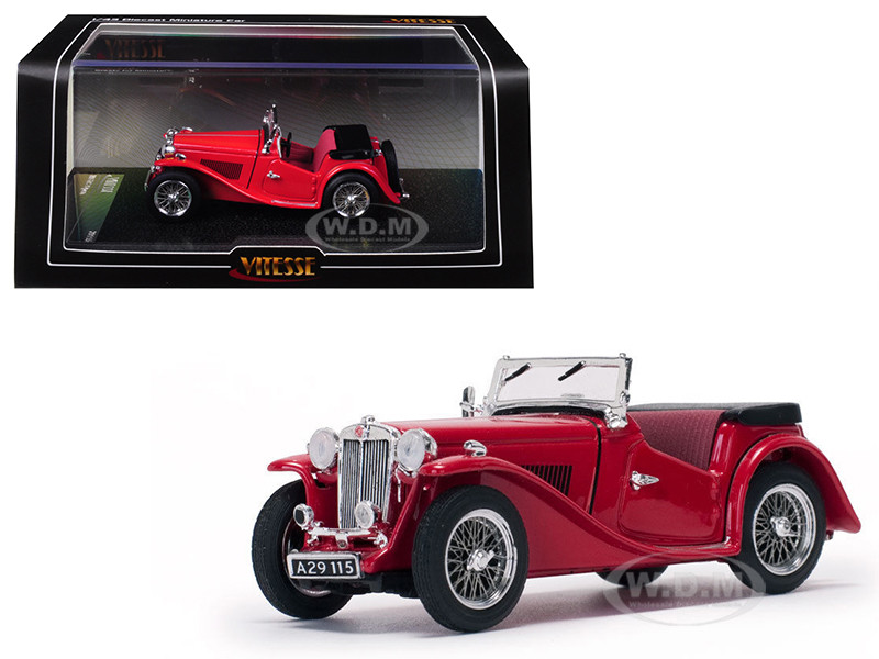 MGTC MG Open No Top Red 1/43 Diecast Model Car Vitesse 29115