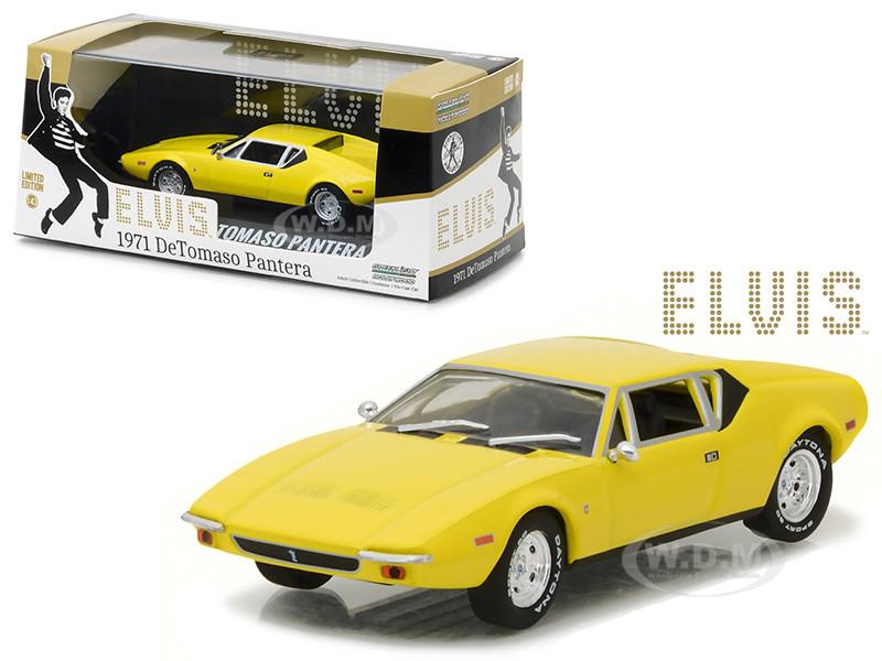 1971 De Tomaso Pantera Yellow Elvis Presley 1935 1977 1/43 Diecast Model Car Greenlight 86502