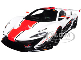 McLaren P1 GTR Gloss White with Red Stripes 1/18 Model Car Autoart 81541