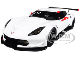 Chevrolet Corvette C7 R Plain White Version with Red Accents 1/18 Model Car Autoart 81650